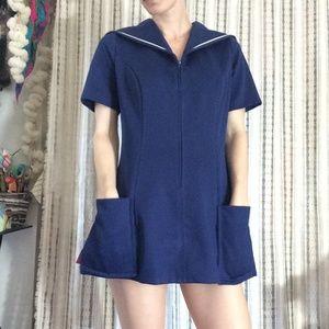 Vintage Dresses - Navy Blue Nautical True Vintage Mini Dress